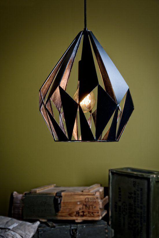 Eglo vintage carlton 1 hanglamp 1 lichts zwart zilver