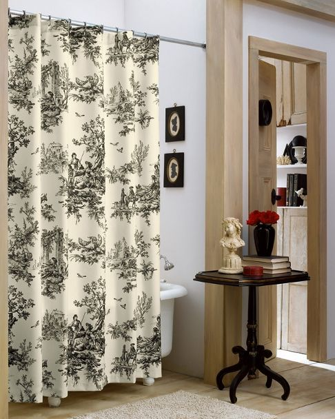 Lavish Black Ivory Classic Toile Shower Curtain Black Curtains
