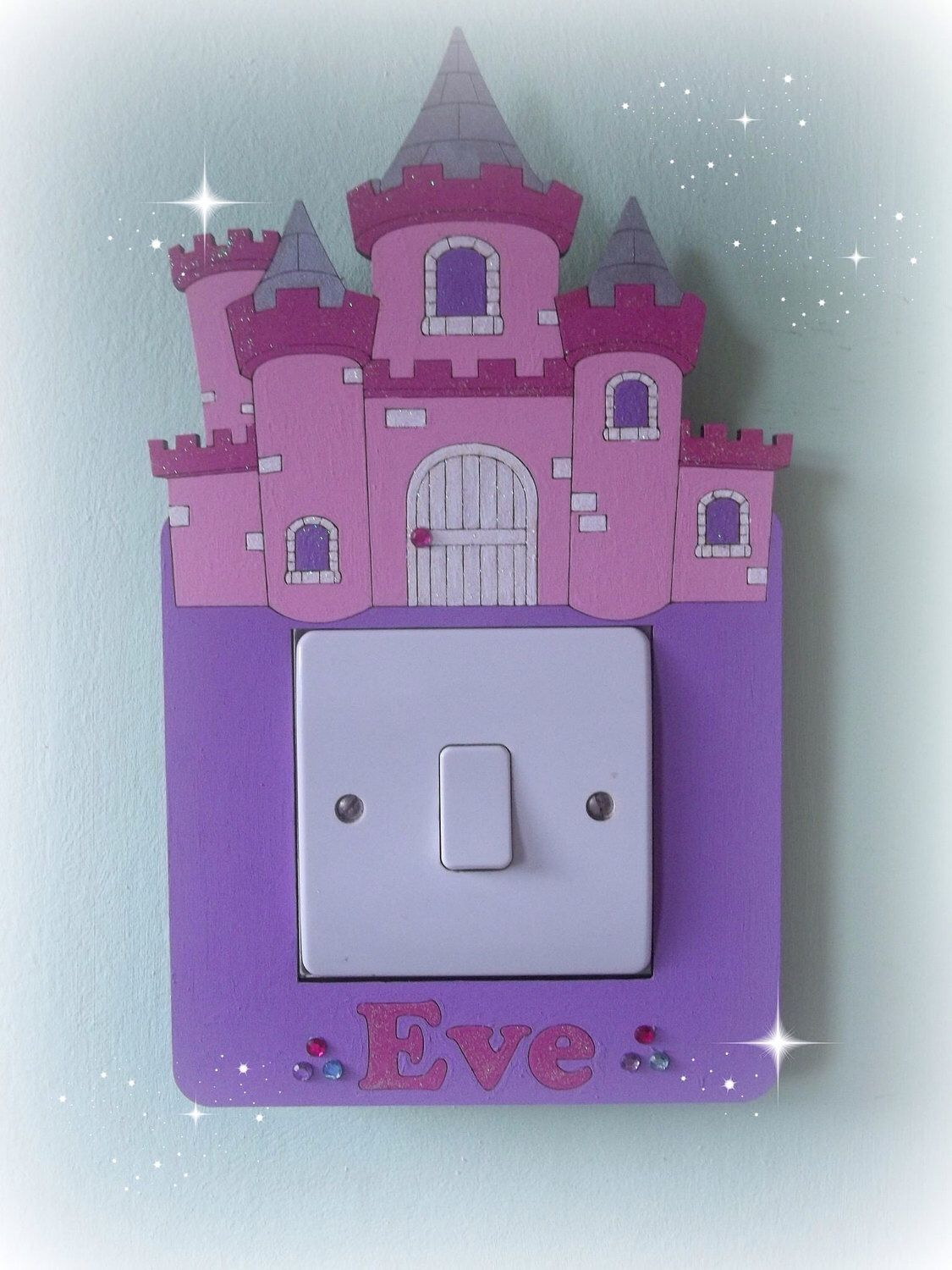 Light surround, fairy princess castle lightswitch surround, lovely girls gift, room decor, can be personalised, girls room by SweetlittleThings96 on Etsy https://www.etsy.com/uk/listing/508275245/light-surround-fairy-princess-castle