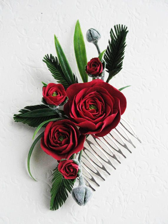 b1a6bd2b81ae7 Red Rose Flower Hair Comb, Green Leaves Bridal Jewelry Hair comb ...
