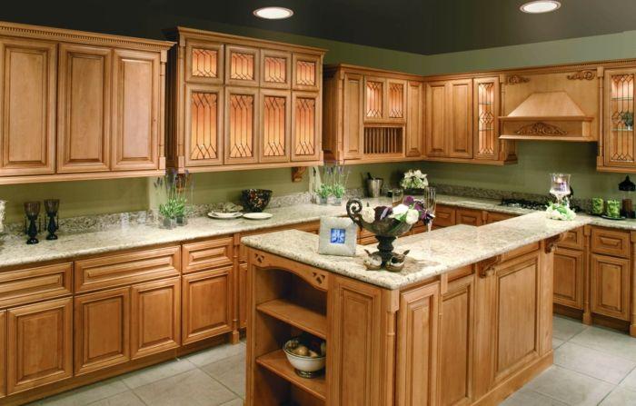 wände streichen ideen küche grün traditionelle küchenschränke - küchen mit granit arbeitsplatten
