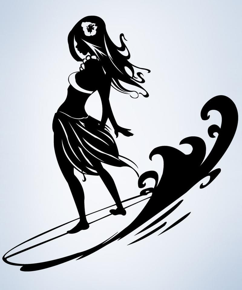 Vinyl Wall Decal Sticker Surfer Hula Girl 1280