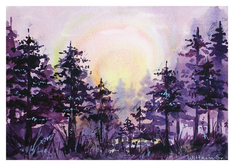 landscape original aquarella painting sunrise in the forest watercolor art on paper 30x21 cm 11 8 x8 3 watercolour paper and paints 2018 watercolour in 2020 watercolor scenery landscape sketch watercolor art landscape pinterest