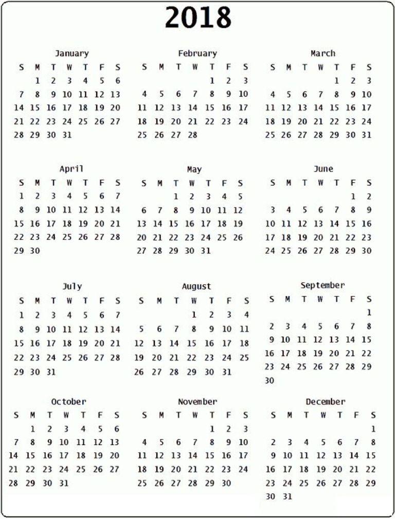 Calendar 2018 Canada Printable Printable Yearly Calendar