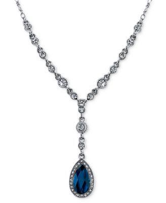 2028 Silver-Tone Blue Stone Pendant Y-Necklace | macys.com
