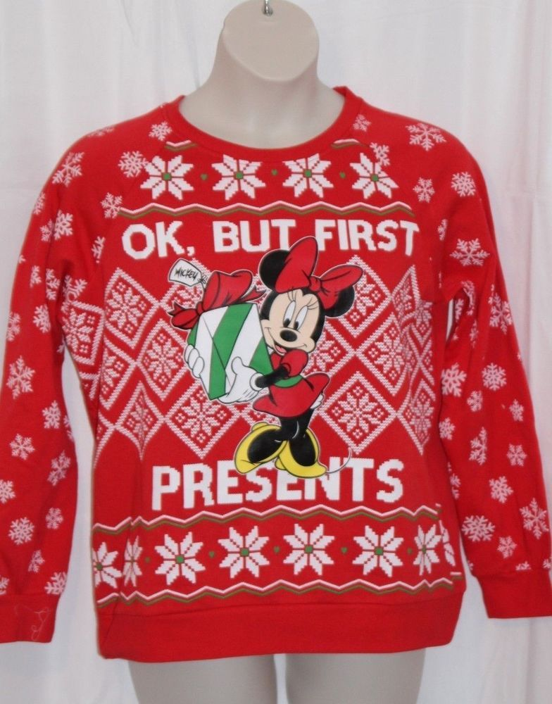 Disney Minnie Mouse Womens Christmas Sweatshirt Xl Red Snowflake