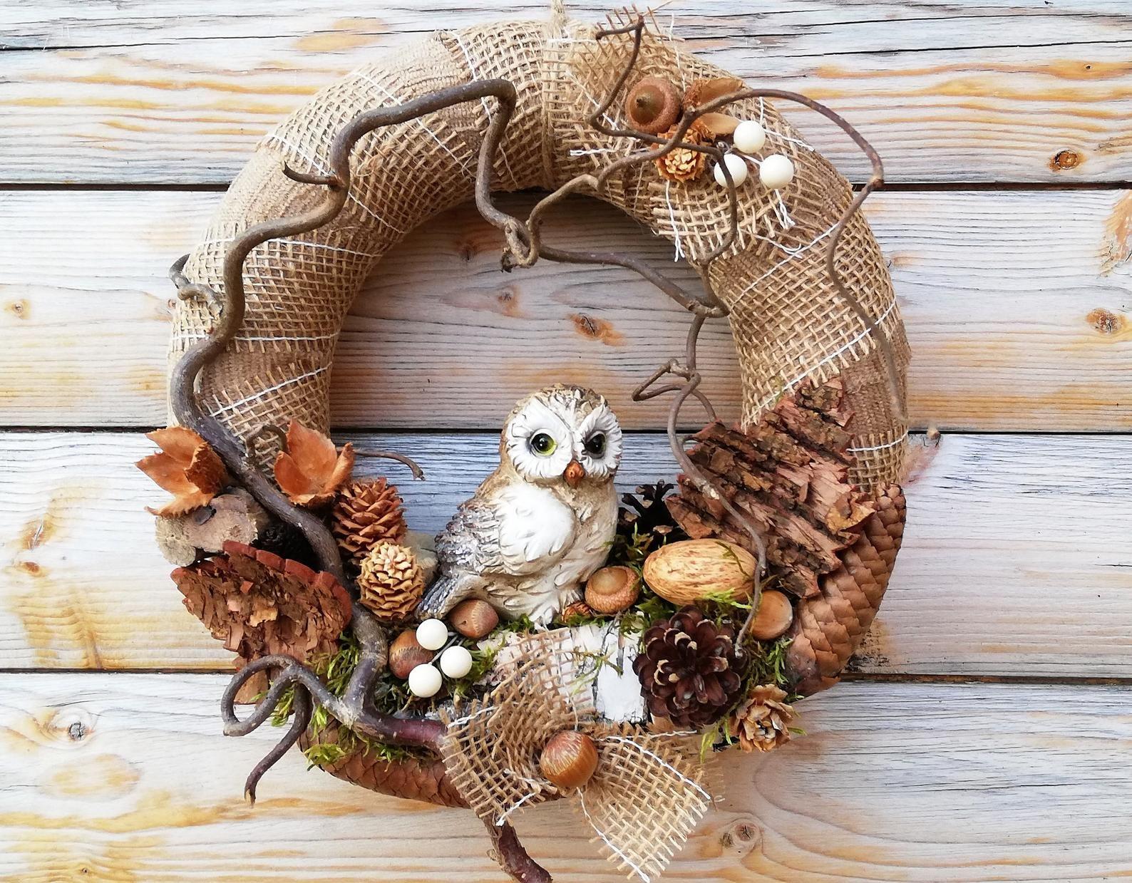 "Photo of Autumn Wreath, Door Wreath ""Owl"", Autumn Decoration"