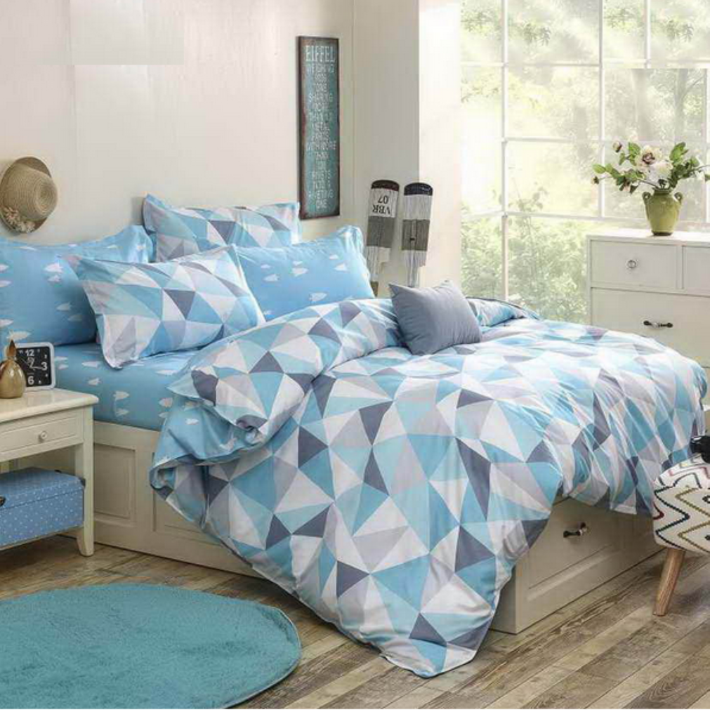 blue with triangle print teenager's men's bedding set duvet cover  - blue with triangle print teenager's men's bedding set duvet cover kingqueen full size black