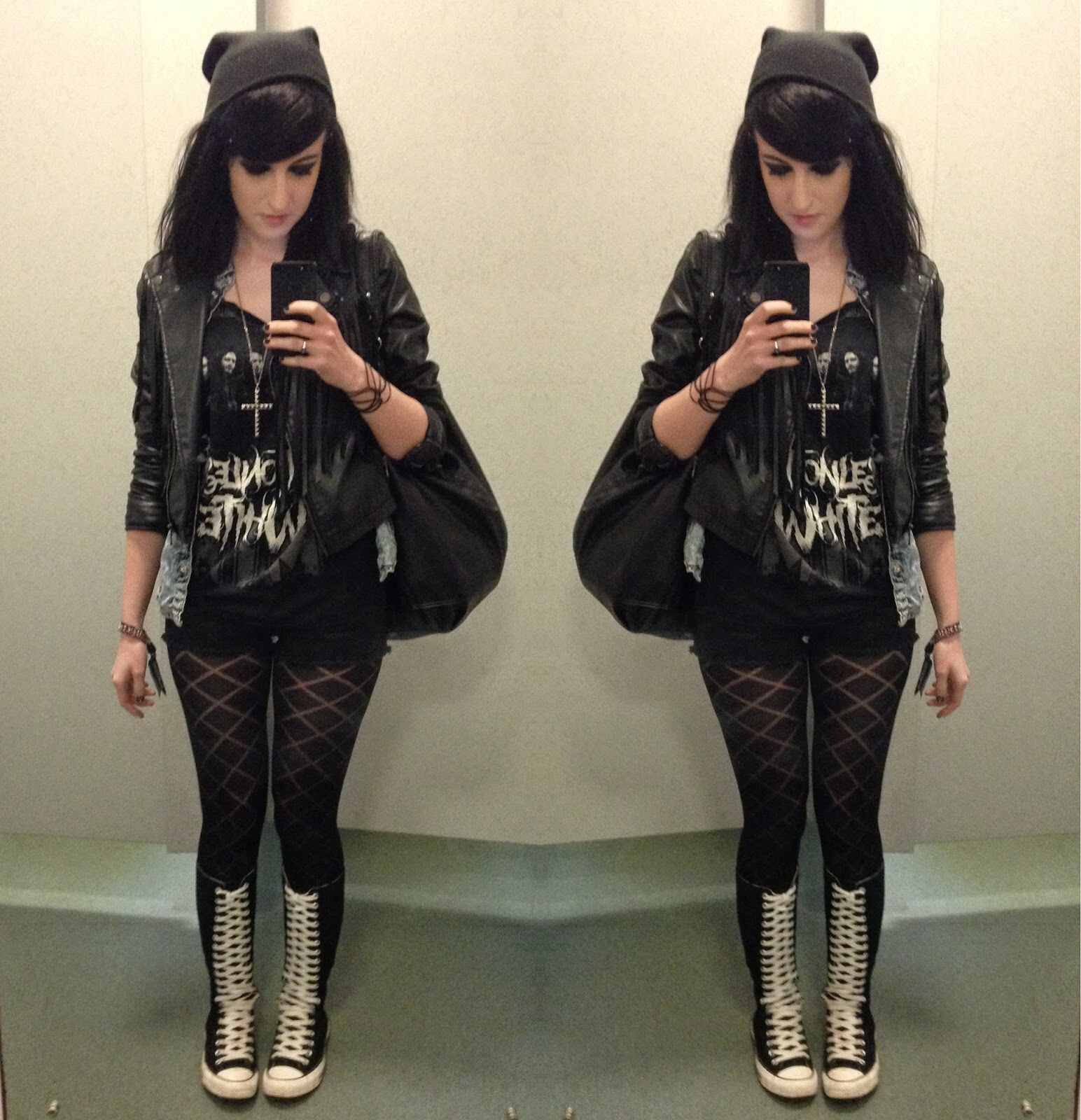 Leather jacket diy - Beanie Motionless In White Diy Band Shirt Leather Jacket Shorts Tights And