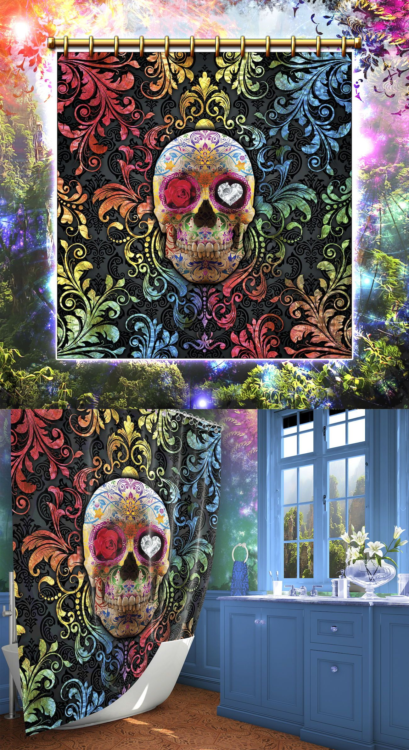 Sugar Skull Shower Curtain Day Of The Dead Decor In 2020 Sugar Skull Shower Curtain Skull Shower Curtain Bathroom Decor Colors