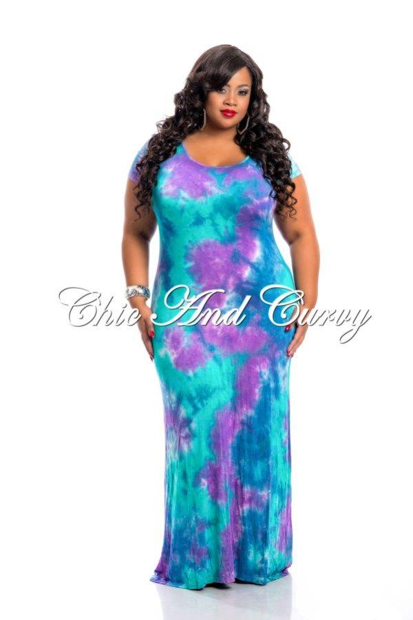 New Arrival New Plus Size Short Sleeve Maxi Dress Tie Dye Purple ...