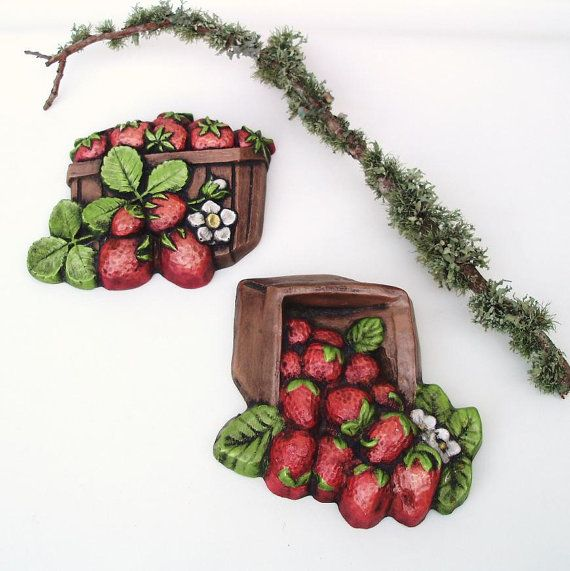 Vintage Wall Decor Chalkware Kitchen Wall Plaques Fruit