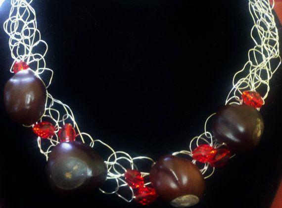 Crocheted Silverplated Wire & Buckeye Choker by Jewellori on Etsy, $14.00