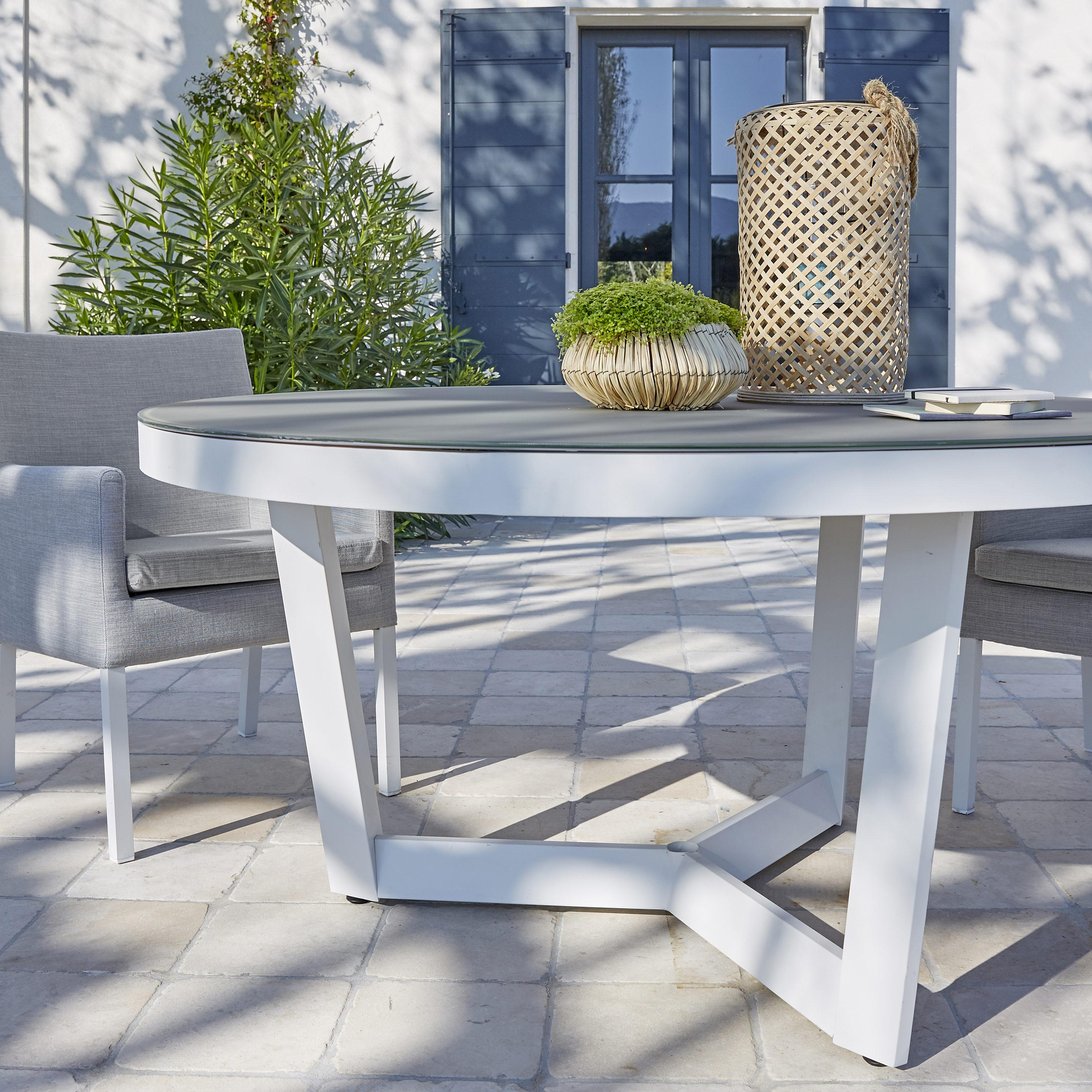 Table de jardin de repas Iraklia ronde blanc / gris 4/6 personnes en ...