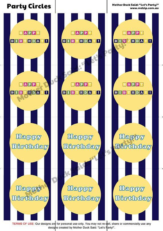Bananas in Pyjamas Party Circles / Cupcake toppers