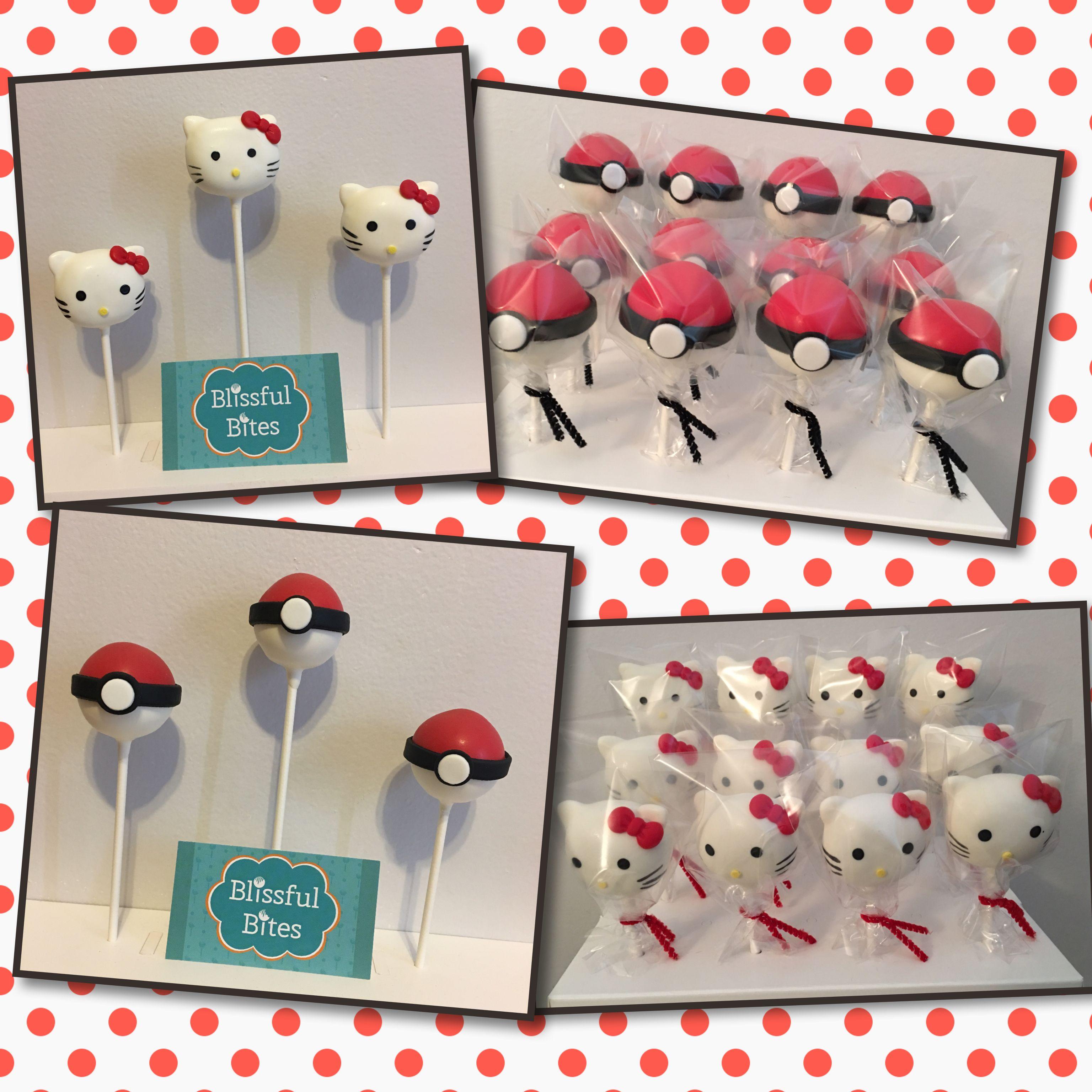 Hello kitty cake pops pokeball cake pops pokeball cake