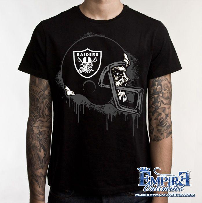 0daf5000 Raider Nation T-Shirt Oakland Raiders Silver & Black football skull ...