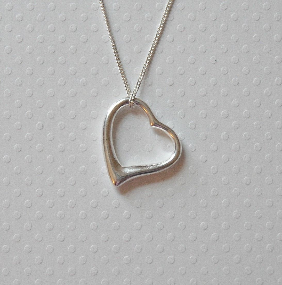 Silver heart necklace large sterling open heart pendant tiffany silver heart necklace large sterling open heart pendant tiffany style gift for her mozeypictures Gallery