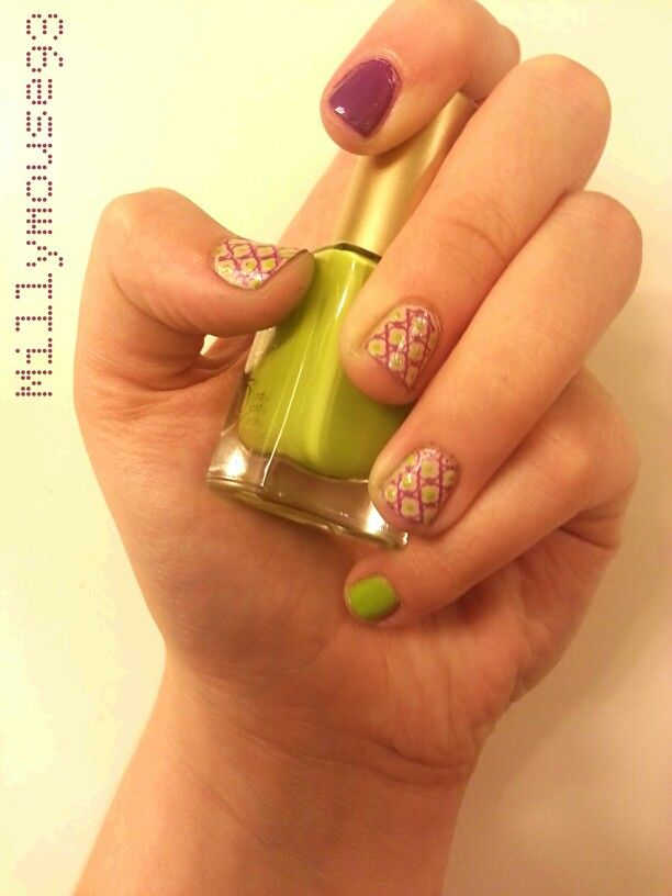Tan, butter, purple, maroon, green, lime, bright, floral, vintage ...