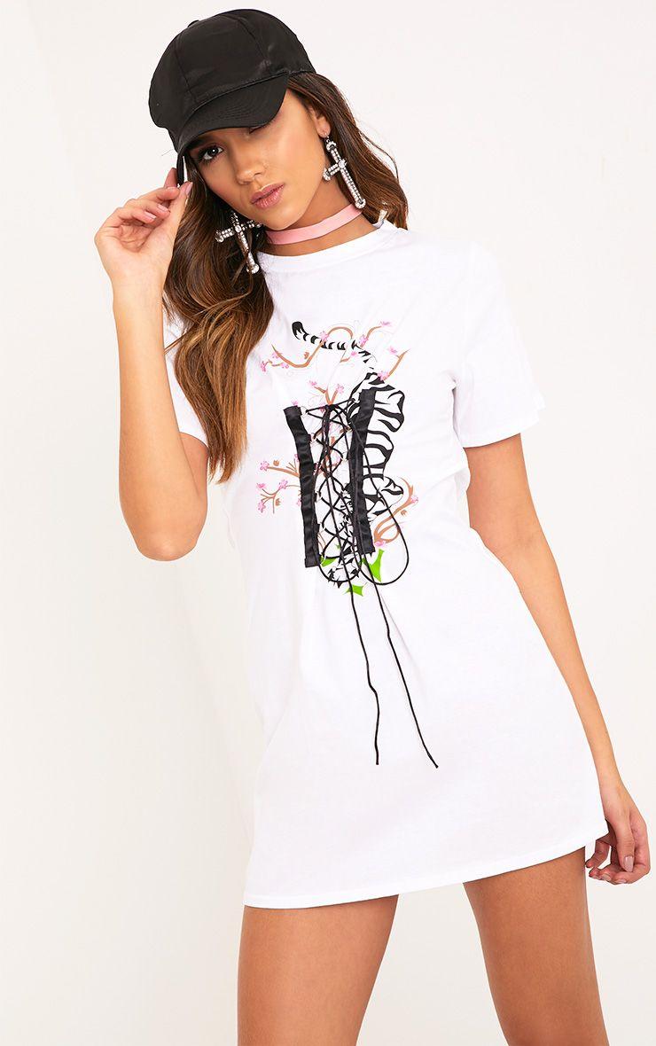 4e0ec9d49a Tiger Print White Corset T Shirt Dress Corset Shirt, White Corset, Tiger  Print,