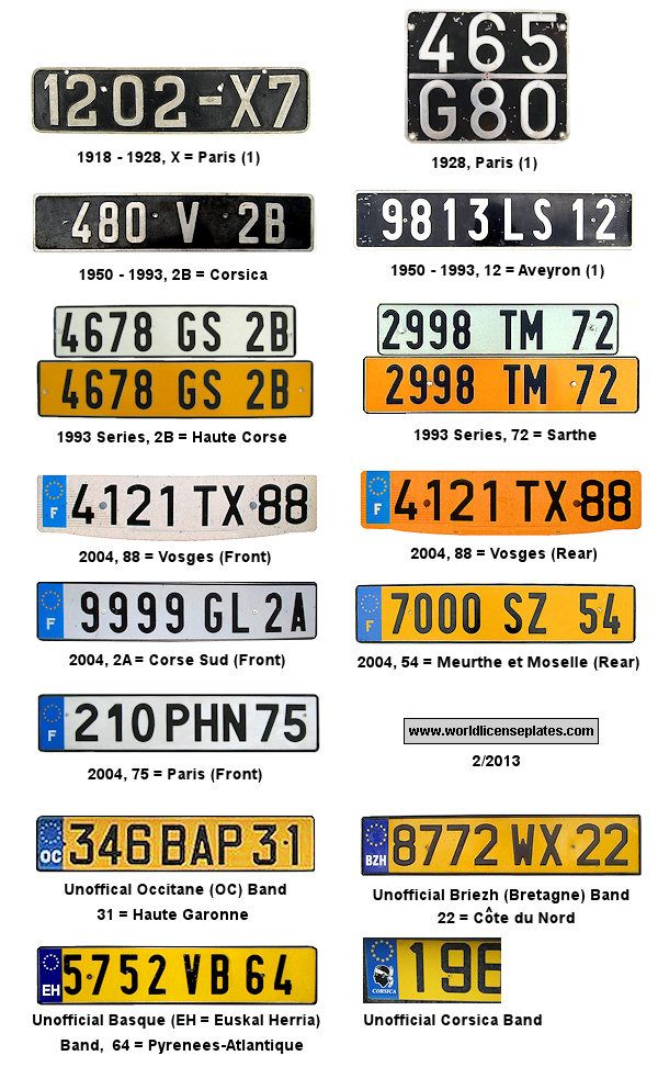 Images Of Europe Registration Plates License Plates Of France