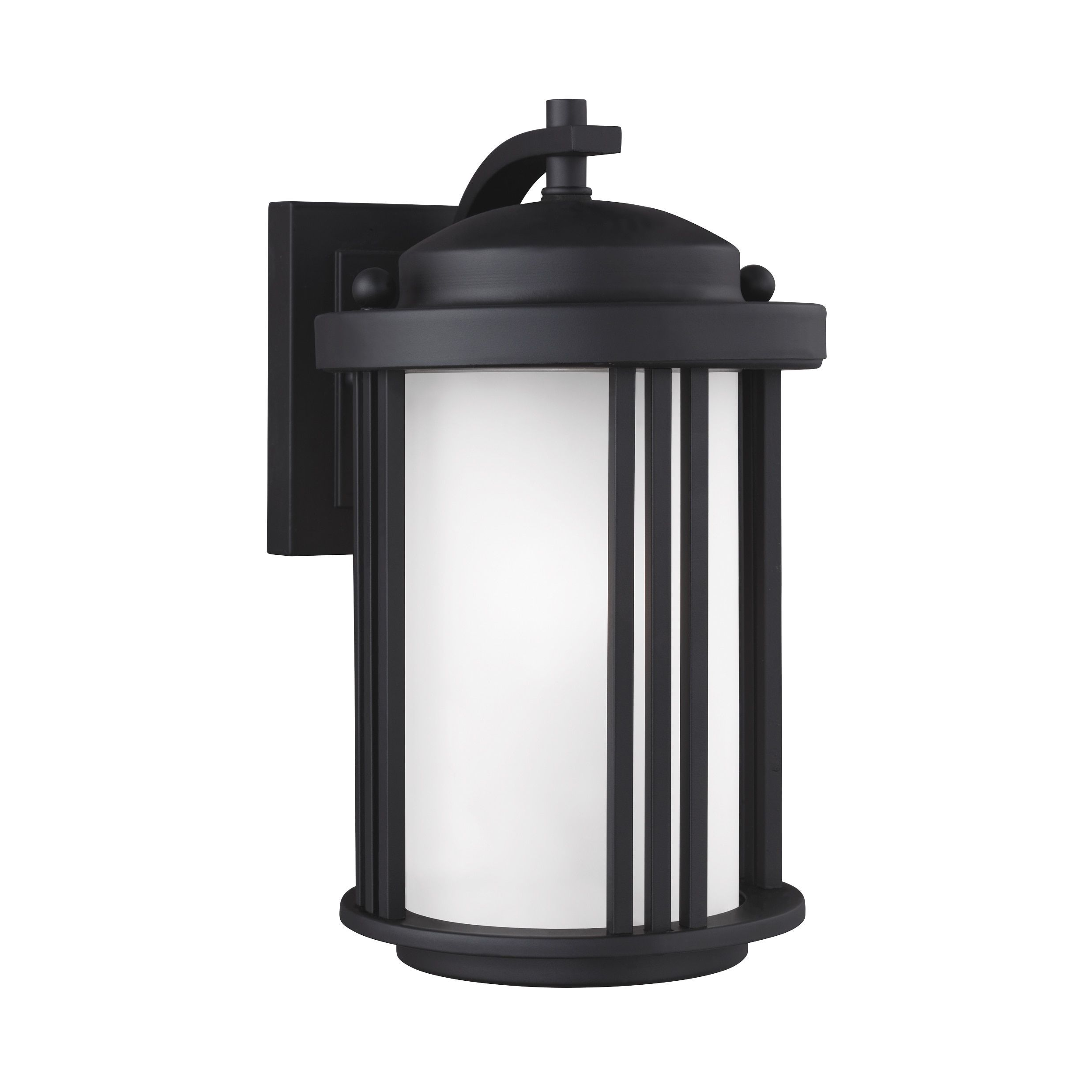 Sea Gull Crowell 1 Light Black Outdoor Fixture (Small One Light Outdoor Wall Lantern) (Aluminum)