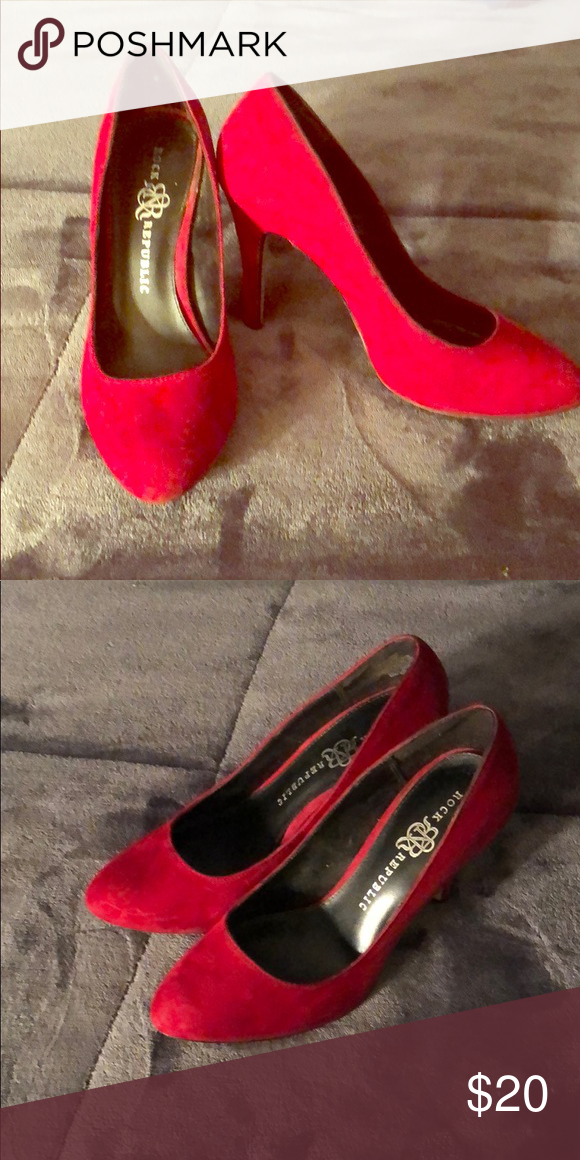 1825e4ca96f Red faux sued pump Beautiful deep red heels. Perfect for the ...
