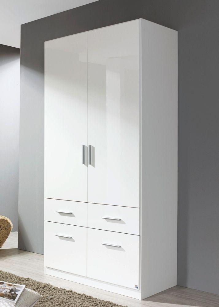 Kleiderschrank Celle 2 Türen 91,0 cm Alpinweiß Hochglanz Weiß 8275