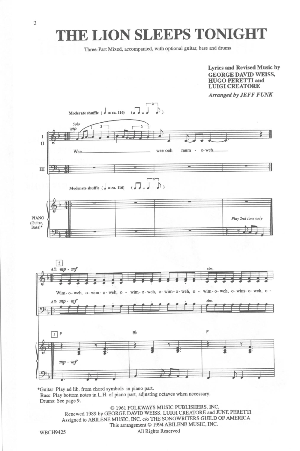 The Lion Sleeps Tonight (Three-Part Mixed ) | J W  Pepper Sheet