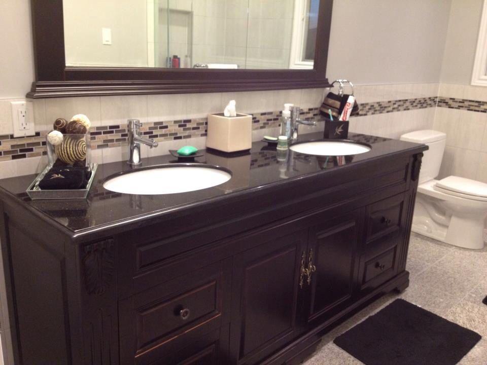 guest bath post renovation  guest bath vanity double vanity