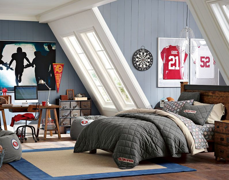 Teenage Guys Bedroom Ideas | Football Inspired | PBteen ... on Teenage Room Colors For Guys  id=40221