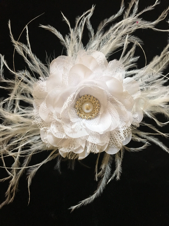 Bridal flower hair clip bridal white chiffon lace feather bridal flower hair clip bridal white chiffon lace feather fascinator hair clip flower girl mightylinksfo