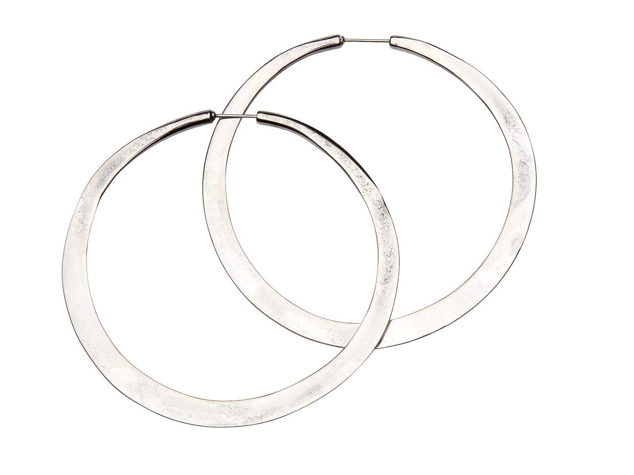 Nomad Hammered Hoops In Silver By Mimco