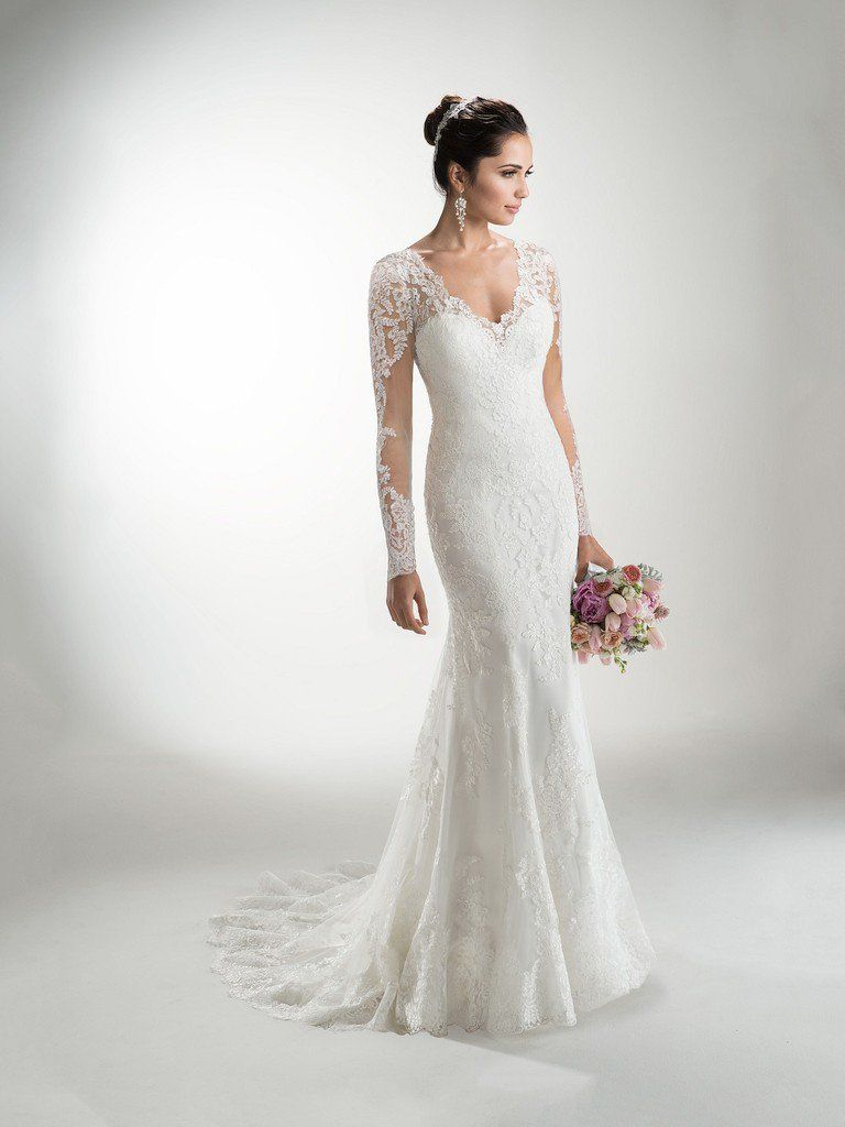 472ee7bcde Maggie Sottero - MELANIE MARIE, Delicate corded lace on tulle create the  illusion long sleeves and neckline of this lightweight gown with attached  Monroe ...