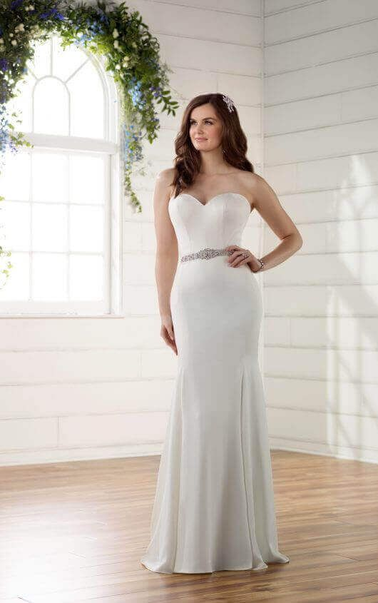 3e24436355065 The visible seaming on Essense style D2256 adds a flattering, modern update  to this classic and elegant gown. D2256 Comfortable Strapless Wedding ...