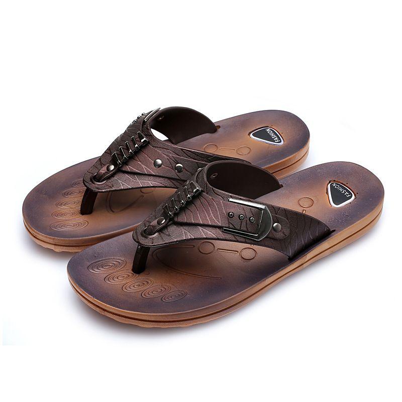 factory outlet for sale low cost Men Trendy PU Leather Flip-flops Sandals Slipper sale view store sale buy cheap 2015 G37L1Lj6
