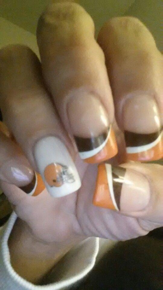 f36909f67a7 Cleveland Browns nails ! Love them Baseball Nail Art