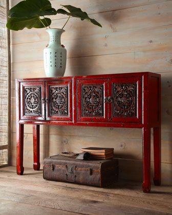 Antique Red Wooden Console Asian Inspired Decor Asian Decor Decor