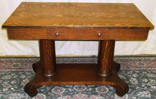 Antique Tiger Oak Empire Style Twin Column Library Table With