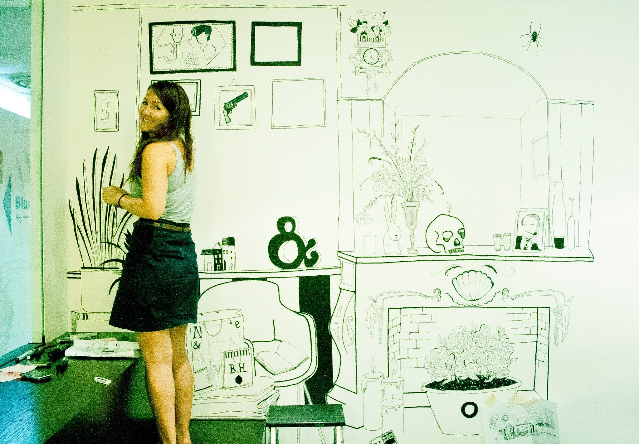 freehand graphic design creates office interior with unique creativity - Cool Graphic Design Ideas