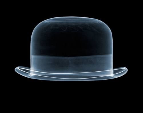 English artist Nick Veasey uses x-raytechnology to peel back the layers and peer inside a bowler hat