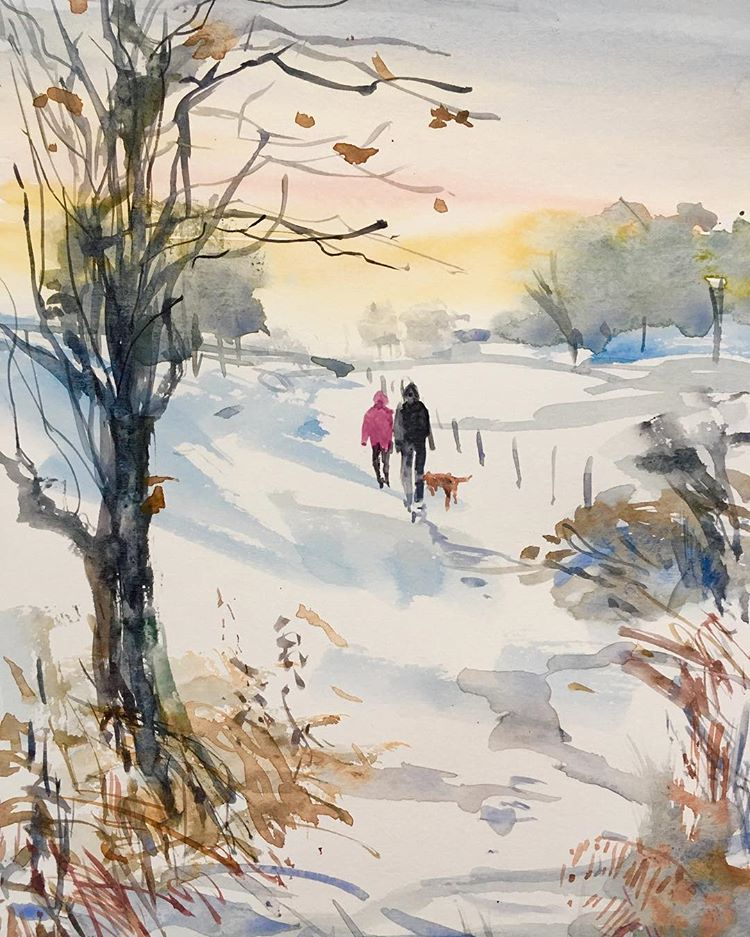 Walk In The Snow Watercolor Art Snow Winter Watercolor