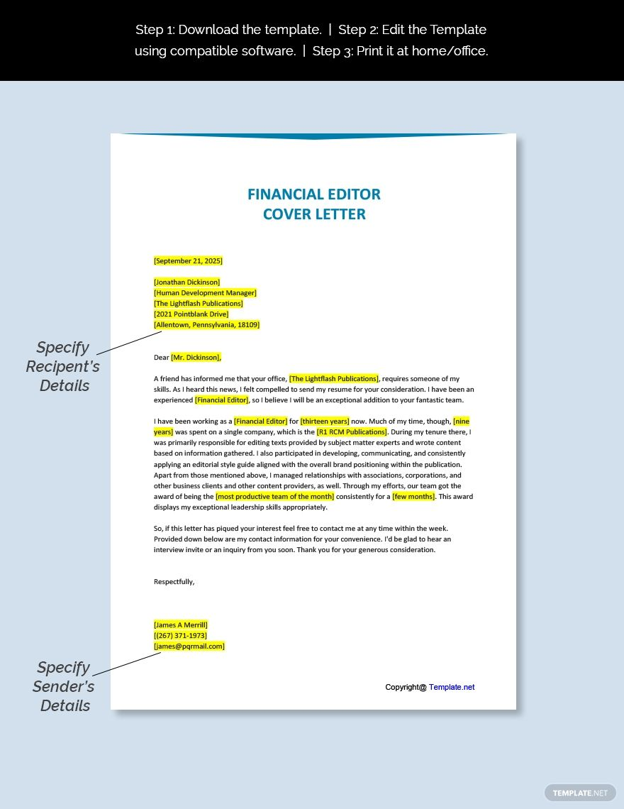 Free financial editor cover letter template ad paid