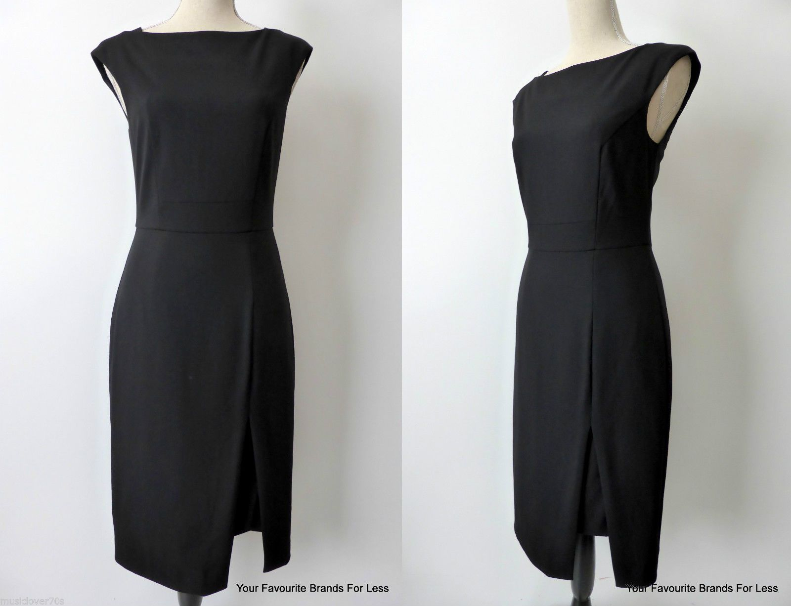 "Veronika Maine Dress Size 8 US 4 Black Sleeveless Made IN Australia | eBay This slim line dress has a round neck line and seam detailing on the bodice,  back and waist band. There is a 32 cm (12.5"")split on the left hand side at the front of the dress which has a full self styled panel underneath.  This panel is 10 cms (4"") shorter than the split. The dress has a back vent, a hidden back zip and it is fully lined. The fabric is European and the dress was made in Australia."