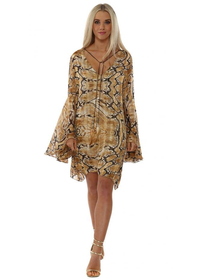 JUST M PARIS Amber Snakeskin Print Chiffon Tunic Dress