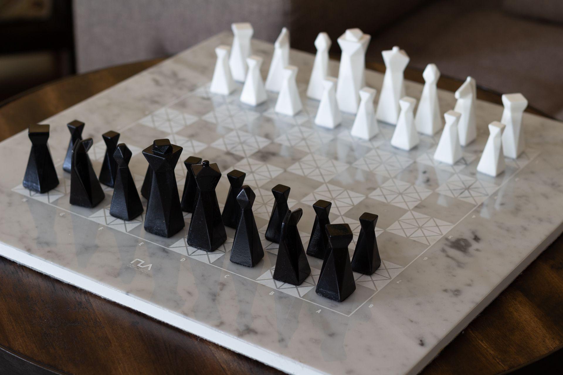 Bianco Carrara Gray Marble Chess Set Carrara, Chess