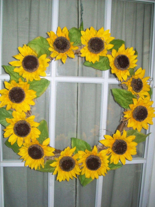 Sunflower Wreath Fall Summer Yellow Indoor Outdoor Wreath Fall ...