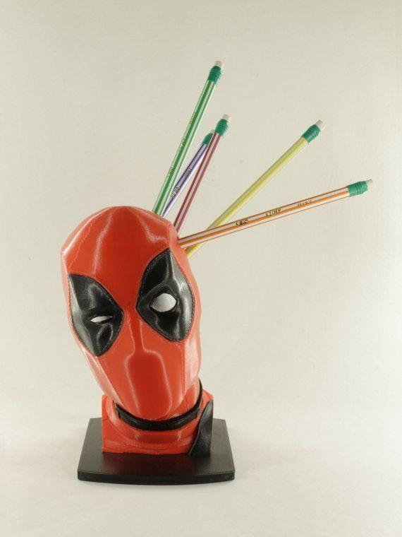 Deadpool Pen And Pencil Holder Desk Organizer Geek Decor Pencil Holder 3d Printing Diy