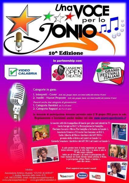 Sono aperte le iscrizioni al Festival UNA VOCE PER LO JONIO, il concorso nazionale per voci nuove legato al circuito dei GRANDI FESTIVAS ITALIANI. La kermesse c...