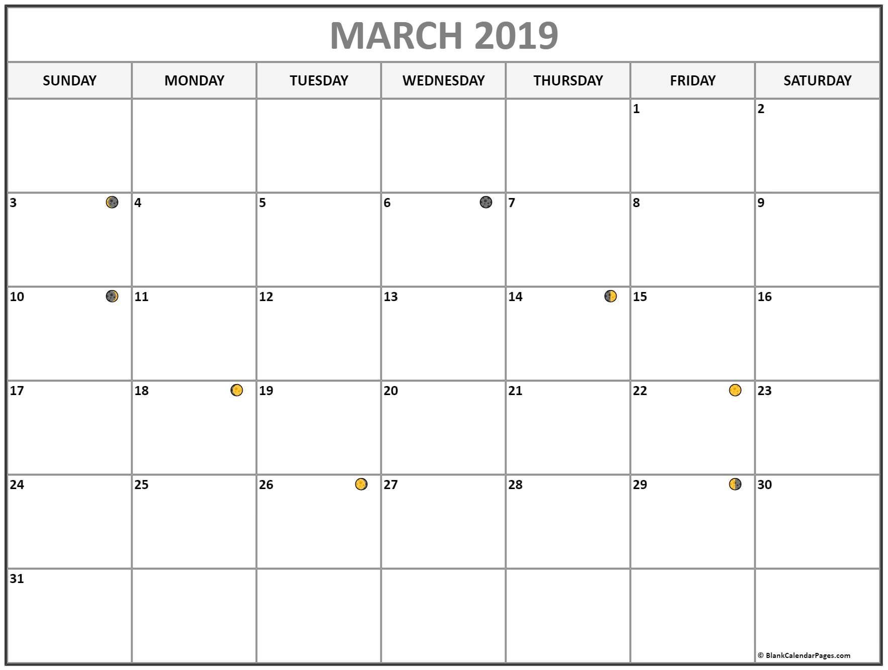 March 2019 Lunar Calendar Moon Phase Calendar With Usa Holidays